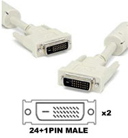 Cable: DVI-D 24+1pin cable Male-Male, 5m