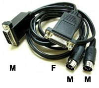Midi Cable 2m DB15P Male - Female + DIN5PM x2