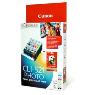 CANON INK VALUE PACK 1xCLI521C/M/Y/BK + PP201 50 S...