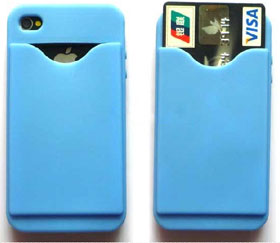 Rubber Cover for iPhone 4 with Card holder - Blue