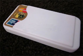 Rubber Cover for iPhone 4 with Card holder - White