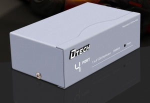 4 Port VGA Splitter Box Support 1920x1440 high resolution and 250MHz Video Bandwidth