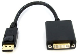 Converter: DisplayPort (Male) to DVI (Female) Cable Converter - 20cm, Passive Type