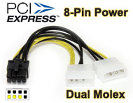 4-pin Molex to PCI-E 6pin / 8pin (2+6) Power Cable Adapter for Graphic Video Card