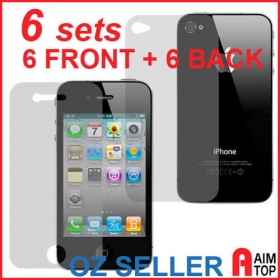 6 sets (12 pieces) Front + Back Screen Protector Cover for iPhone 4 / 4S
