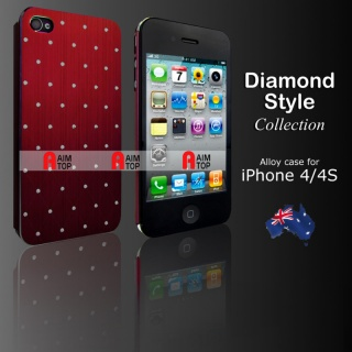 Aluminium Diamond Style Case for iPhone 4 / 4S - R...
