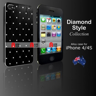 Aluminium Diamond Style Case for iPhone 4 / 4S - Black