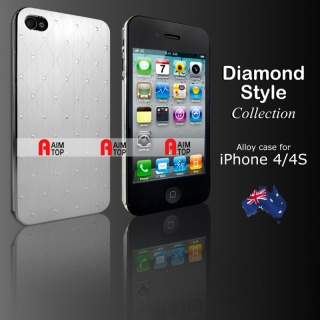 Aluminium Diamond Style Case for iPhone 4 / 4S - Silver