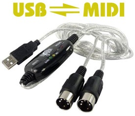 USB MIDI Cable for PC / Macintosh, 16 Channels, 2 meters