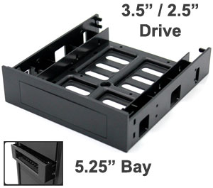 "3.5"" / 2.5"" Device Frame to Fit in 5.25"" CD-Rom Bay, Black"
