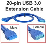USB 3.0 20-pin Plug Male to 20-pin Female Cable Co...