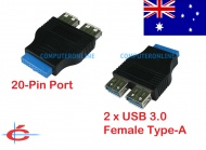 USB 3.0 20 Pin Motherboard Port Header to 2 x USB 3.0 Type A female Adapter