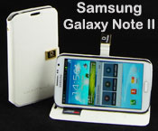 Pu Leather Flip Case for Samsung Galaxy Note II 2 - Stand up, Card Pockets, White