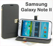 Pu Leather Flip Case for Samsung Galaxy Note II 2 - Stand up, Card Pockets, Black