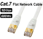 Cat 7 Ethernet Flat Cable - 3 meters, 10Gbps Speed, Gold Plated Connectors