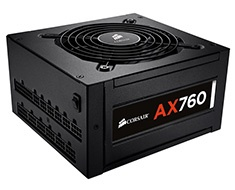 760W Corsair AX760 100% Modular ATX Power Supply, ...