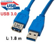 Cable: USB 3.0 Extension cable A (Male) - A receptacle (Female), 1.8 meters