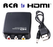 Converter: Video RCA AV Input to HDMI Output to Monitor, [R2HD01], USB Powered, mini Sized