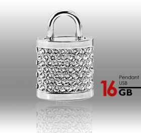 16GB Generic Crystal Lock Pendant USB Flash Drive Pen Stick Memory (Silver)