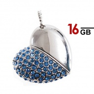 16GB Generic Heart Shape USB Pen Drive (Blue)