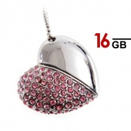 16GB Generic Heart Shape USB Pen Drive  (Pink)
