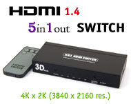 HDMI Ver 1.4 5x1 Switch with Remote, [T-306A], 5 in 1 out / 4K x 2K pixeles / 3D