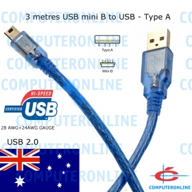 Cable: USB Type A - USB Mini B 5 Pin Plug, 3m