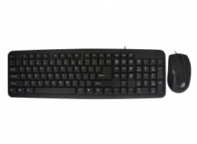 Aywun KM-M29 Wired Multimedia Keyboard & Mouse Combo, USB, Standard Keyboard with 107 Keys, Low Key Noise & Comfort Mouse, Black Colour