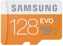 128GB Samsung EVO Micro SDXC up to 48MB/s with Ada...