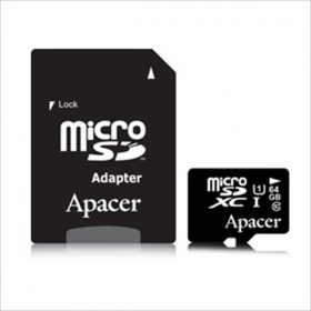 64GB Apacer Micro SDXC UHS-I Class 10 - with SD Ca...