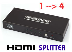 HDMI Splitter 1 In 4 Out, 1 x 4 Duplicator 3D Up to 1920 x 1200, [ZHT103]