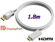 Cable: DisplayPort M to HDMI M, 1.8m, DP to HDMI