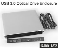 USB 3.0 External Storage Enclosure / Case for 12.7mm Height Notebook SATA Optical Drive, Aluminium Body