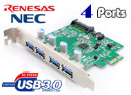 USB 3.0 4 Ports PCI-Express 1x Card - SATA power c...