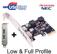 SSU USB 3.0 2 Ports PCI-e Card, [ACS-U3N02S+], Self Powered, Full & low-profile brackets, NEC / Renesas Chipset