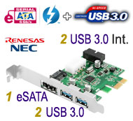 eSATA & USB 3.0 2 Back + 2 Internal Ports (via 20-pin connector) Combo PCI-E 1x Card, NEC / Renesas Chipset