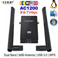 EDUP WiFi AC1200 Dual Band USB 3.0 Dongle, [EP-AC1605], up to 867Mbps, 6dBi Dual Antenna WPS Button
