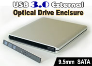 USB 3.0 External Storage Enclosure / Case for 9.5mm Height Notebook SATA Optical Drive, Aluminium Body