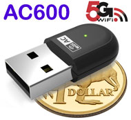 AC600 WiFi Dual Band 5G / 2.4G USB Dongle, Win / Mac / Linux Supported