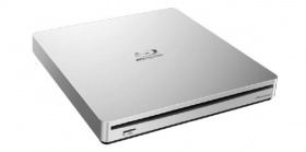 Pioneer BDR-XS06T WHITE SLOT LOAD 8X Slim Ext Portable USB 3.0 Blu-Ray Writer - Retail with CyberLink Media Suite