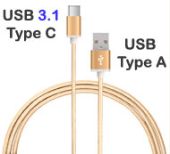 USB Type A to Type C Data Sync & Charging Cable, 1.5 meters Braided Nylon Gold Colour