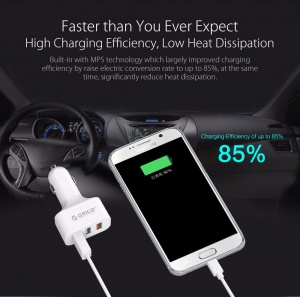 Orico 3-Port QC 2.0 Car Charger 35Wattes, [UCH-2U1Q-WH], Quick Charge 2.0 White
