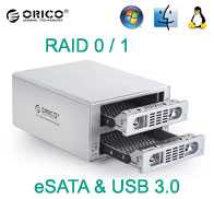 Orico Dual Bay Aluminium RAID External Enclosure, [3529RUS3], RAID 0 / 1, eSATA & USB 3.0 Connection