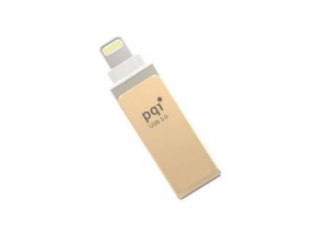 128GB PQI iConnect Mini 6I04-128GR2001 Gold [Apple MFi]  Mobile Flash Drive w/ Lightning Connector for iPhones iPads Mac & PC USB 3.0    (6I04-128GR2001)