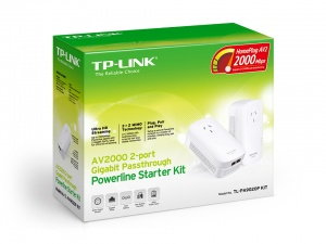 TP-LINK TL-PA9020PKIT, AV2000 2-PORT GIGABIT PASSTHROUGH POWERLINE STARTER KIT