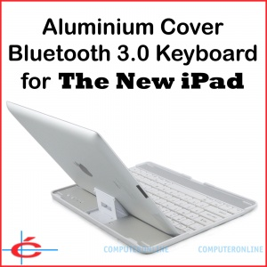 Bluetooth V3.0 Keyboard + Aluminium Cover / Stand for The New iPad 3, Black Keys