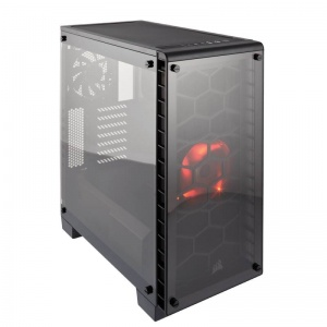 Corsair Crystal Series 460X Red LED - Tempered Gla...