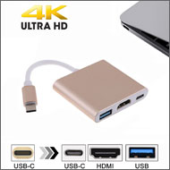 USB 3.1 Type C to 4K HDMI / USB 3.0 Type A / USB T...