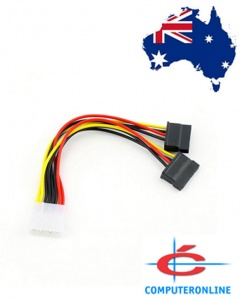 4 Pin IDE Molex to 2 SATA Power Cable Splitter Adapter