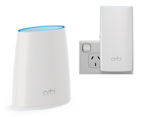NETGEAR RBK30 ORBI Whole Home AC2200 Tri-band WiFi System (WiFi Router & Wall Plug Satellite)